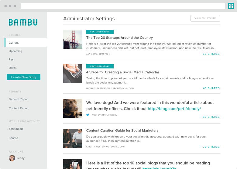 bambu by sprout social dashboard screenshot