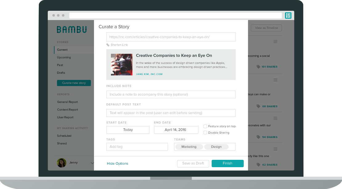 social media compliance bambu screenshot