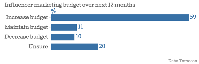 Influencer Marketing Budget Over The Next 12 Months