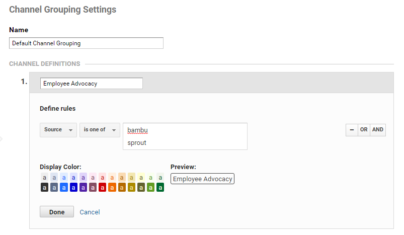channel group settings example