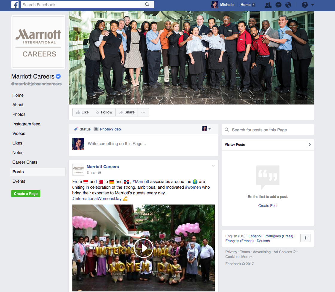 Marriott facebook example