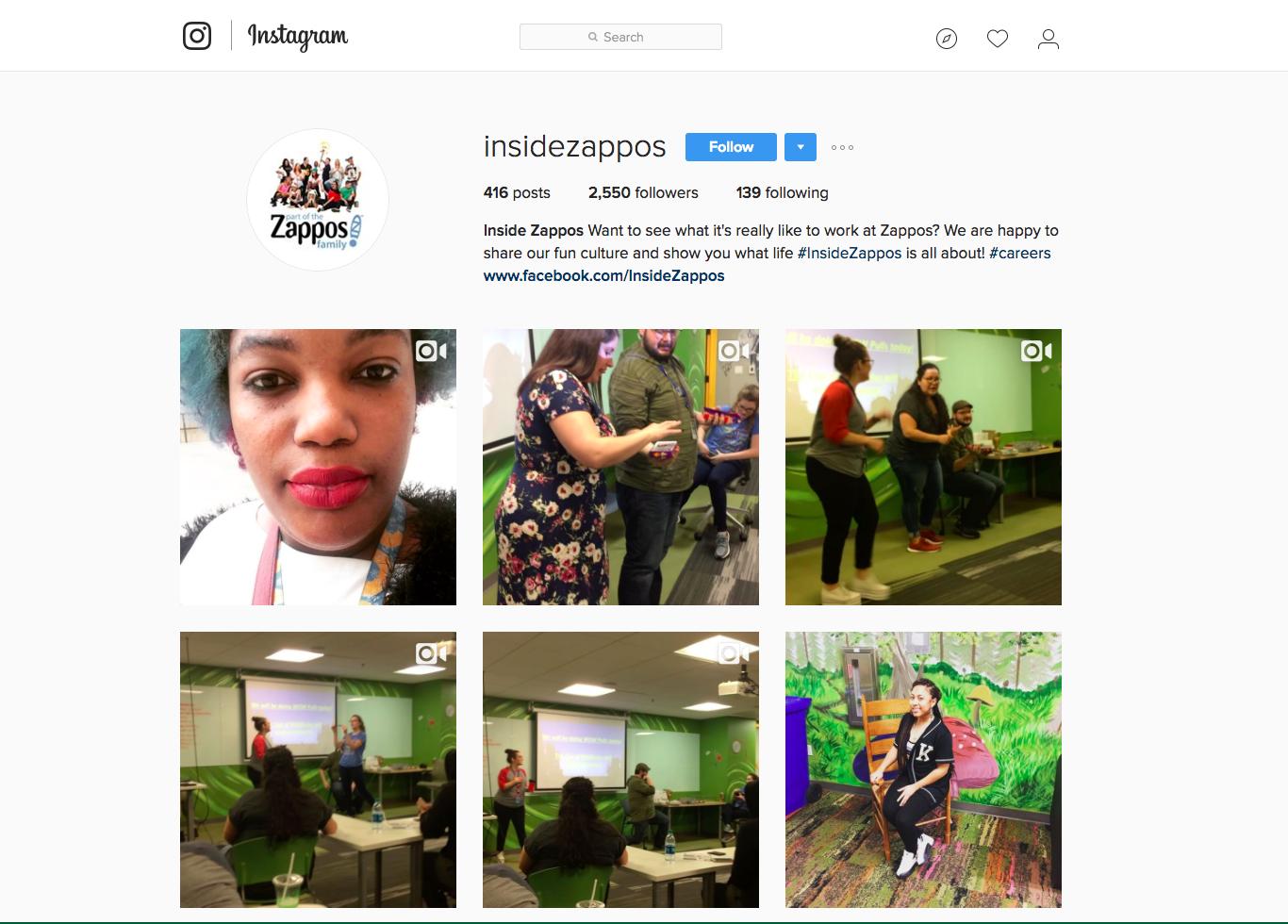 Zappos instagram example