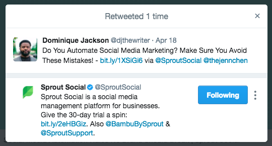 Sprout Social Retweet