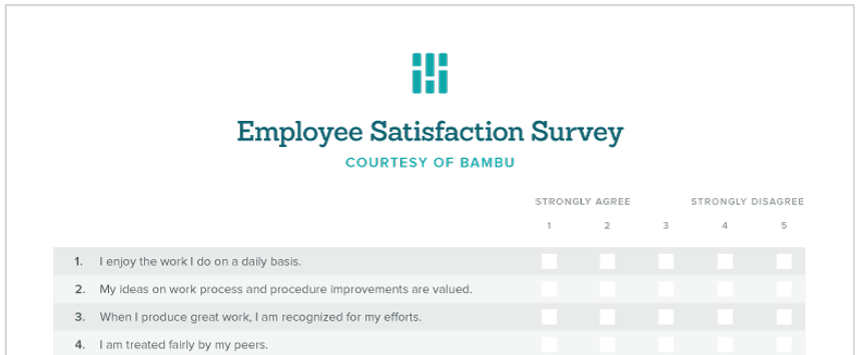 60 Employee Engagement Ideas For Every Business Scenario Bambu By Employee  Satisfaction Survey Template Maxwellsz