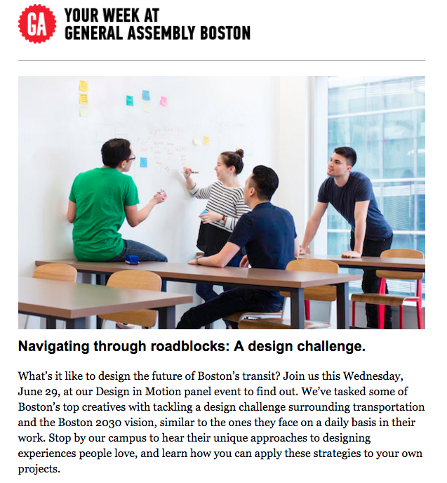 corporate newsletter for general assembly boston